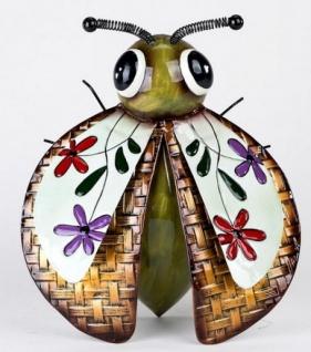 Käfer als Hängedeko aus Sumatra Metall mit bunten Blumen, 28 cm