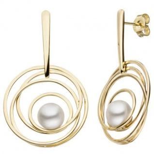 Ohrhänger 585 Gelbgold 2 Süßwasser Perlen Ohrringe Perlenohrringe