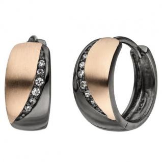 Creolen 925 Sterling Silber schwarz bicolor 12 Zirkonia Ohrringe