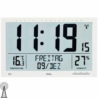 AMS 5887 Wanduhr Tischuhr Funk digital weiß Datum Thermometer