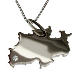NRW Anhänger aus 925 Silber mit Brillant am Wunschort mit Halskette
