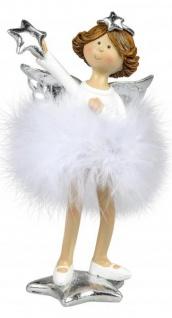 Weihnachts-Deko-Figur Engel mit Plüsch-Federn und Stern Schutzengel Weihnachtsengel Kunststein weiss silber 20cm Winter-Engel
