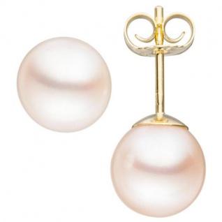 Ohrstecker 585 Gelbgold mit 2 Süßwasser Perlen Ohrringe