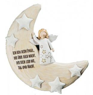 GILDE Deko Mondsichel mit Engel für die Wand in Beige Gold, 6 cm