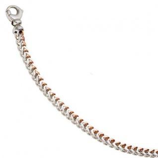 Armband 585 Weißgold Rotgold bicolor 21 cm Goldarmband Karabiner