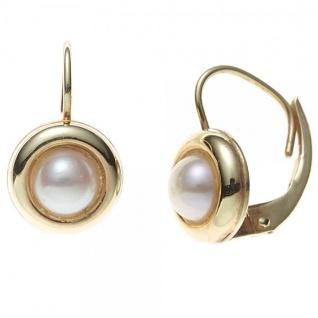 Boutons 333 Gold Gelbgold 2 Süßwasserperlen Perlen Ohrringe Ohrhänger