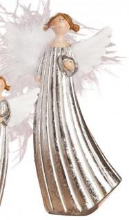 Deko-Figur stehender Engel mit Herz aus Keramik silber 12 cm groß