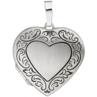 Medaillon Herz für 2 Fotos 925 Silber matt geschwärzt zum Öffnen