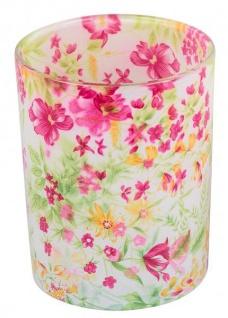 Windlicht-Glas dekorativer Teelichthalter rosa grün Blumen-Design 13 cm