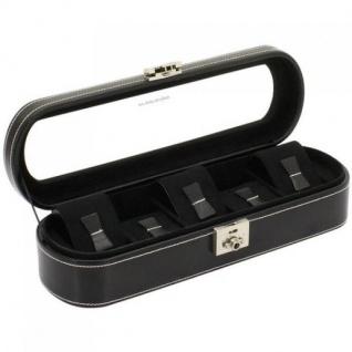 Friedrich Lederwaren Uhrenkoffer Uhrenbox LONDON schwarz für 5 Uhren