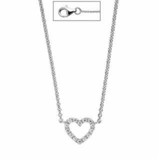 Collier Halskette Herz 925 Sterling Silber mit Zirkonia 42 cm