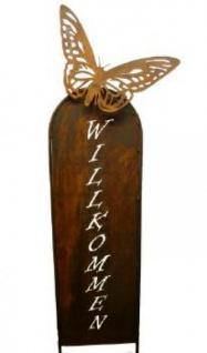 Schild aus Metall mit Willkommen und Schmetterling ca. 145 cm hoch