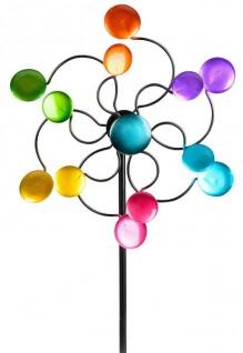 Windrad für den Garten aus Metall Kreise lila/blau/rot/grün 110 cm