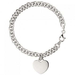Armband mit Anhänger Herz 925 Sterling Silber 19 cm Herzarmband