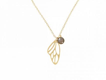 Halskette Anhänger Silber Vergoldet Schmetterlingsflügel Rauchquarz