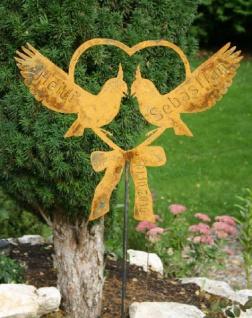 Herz mit 2 Vögel Wunschnamen und Datum aus Metall Tauben