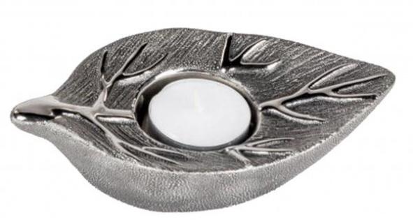 Formano Teelichtleuchter Baum antik Silber aus Keramik 15 cm