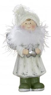 Deko Figur stehender Engel mit Stern und Plüsch Keramik silber 16 cm
