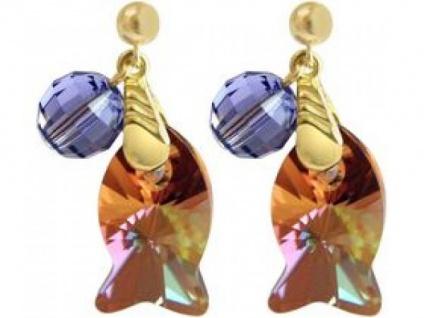Ohrringe vergoldet Fisch Goldbraun MADE WITH SWAROVSKI ELEMENTS®