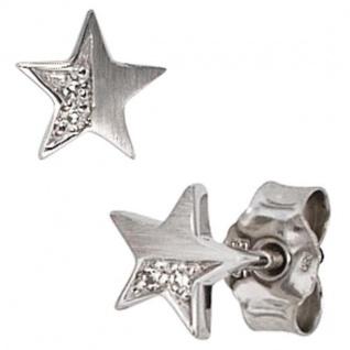 Ohrstecker Stern 585 Weißgold matt 1 Diamant Brillant 0, 022 ct.