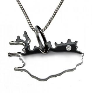 ISLAND Anhänger aus 925 Silber mit Brillant am Wunschort mit Halskette
