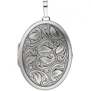 Medaillon oval 925 Sterling Silber mattiert geschwärzt zum Öffnen