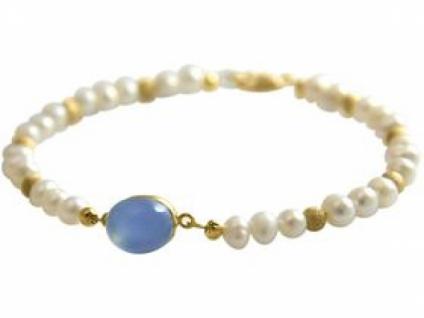 Gemshine Damen Armband Perlen Vergoldet Chalcedon Blau 18 cm