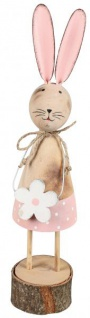 Deko-Hase Osterhase Mädchen mit Blume stehend creme rosa 22 cm