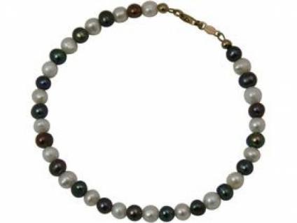 Gemshine Damen Armband Perlen Tahiti Grau Weiß Vergoldet 19 cm
