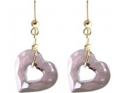 Ohrringe Vergoldet Herz Open Heart Rose WITH SWAROVSKI ELEMENTS®