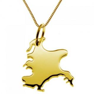 RÜGEN Kettenanhänger aus massiv 585 Gelbgold mit Halskette
