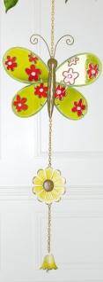 GILDE Dekohänger Schmetterling aus Glas und Metall, grün, 67 cm