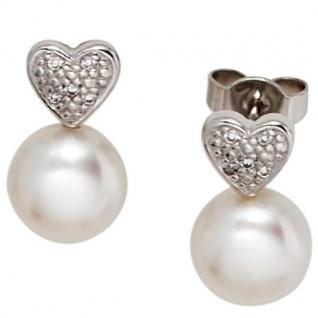 Ohrstecker Herz 585 Weißgold 2 Süßwasser Perlen 10 Diamanten Größe: 62