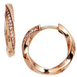 Creolen 585 Rotgold 30 Diamanten Brillanten Ohrringe Rotgoldcreolen