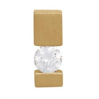 Anhänger 585 Gold Gelbgold mattiert 1 Diamant Brillant 0, 10ct. Solitär