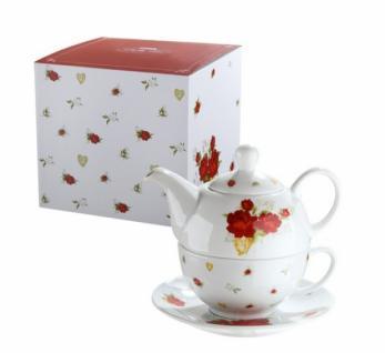 GILDE Tea for one Set aus Porzellan im Rosen Design