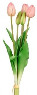 Künstliche Tulpen als Bund 5 Stück einzeln verwendbar grün rosa 36 cm