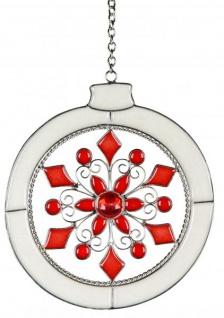 Fensterdeko Dekohänger Glasbild, Weihnachtskugel weiß rot 16 cm