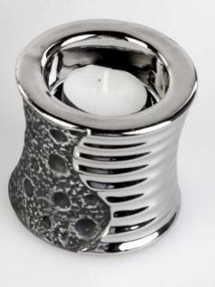 formano Teelichthalter aus Keramik Stone Silber, 8 cm