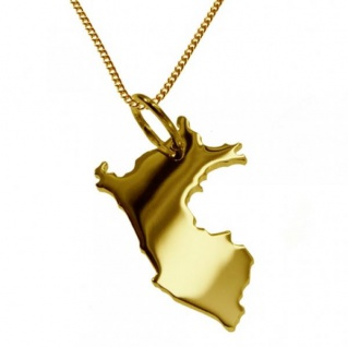 PERU Kettenanhänger aus massiv 585 Gelbgold mit Halskette