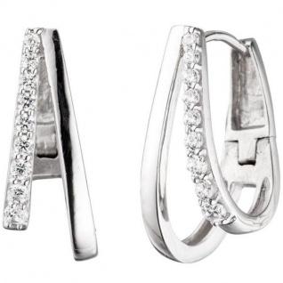 Creolen 925 Sterling Silber mit Zirkonia Ohrringe Silberohrringe