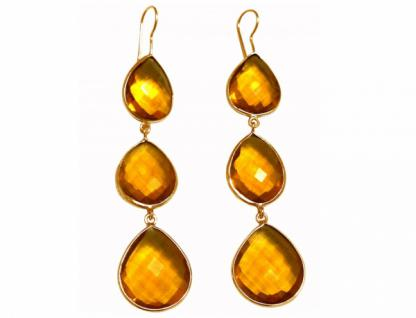 Ohrringe 925 Silber Vergoldet Citrin Quarz Gelb Gold CANDY Tropfen