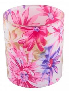 Windlicht-Glas dekorativer Teelichthalter rosa bläulich Blumen-Design 8 cm