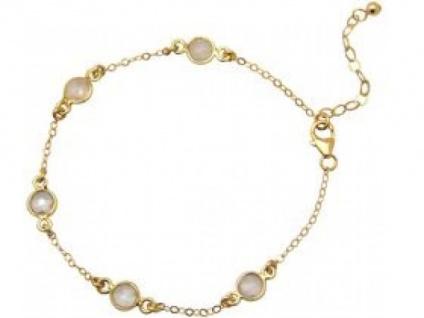 Gemshine Damen Armband 925 Sterling Silber Vergoldet Rose Quarz 18 cm