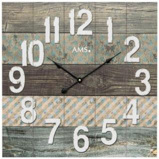 AMS 9570 Wanduhr Quarz analog Holz viereckig quadratisch