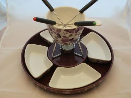 Fondue-Set-Keramik mit 4 Schalen, 18, 5 cm hoch