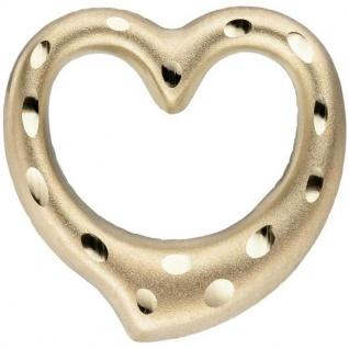 Anhänger Herz 375 Gold Gelbgold matt diamantiert Herz Anhänger