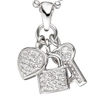 Anhänger Herz Schloss Schlüssel 925 Sterling Silber mit Zirkonia