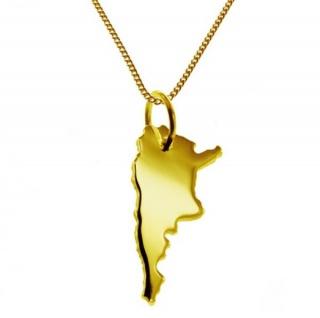 ARGENTINIEN Kettenanhänger aus massiv 585 Gelbgold mit Halskette
