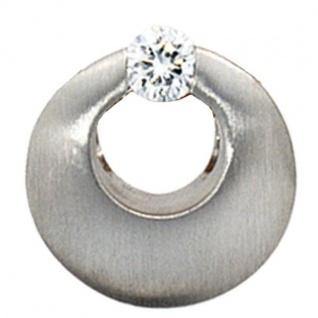 Anhänger rund 950 Platin mattiert 1 Diamant Brillant 0, 09 ct.